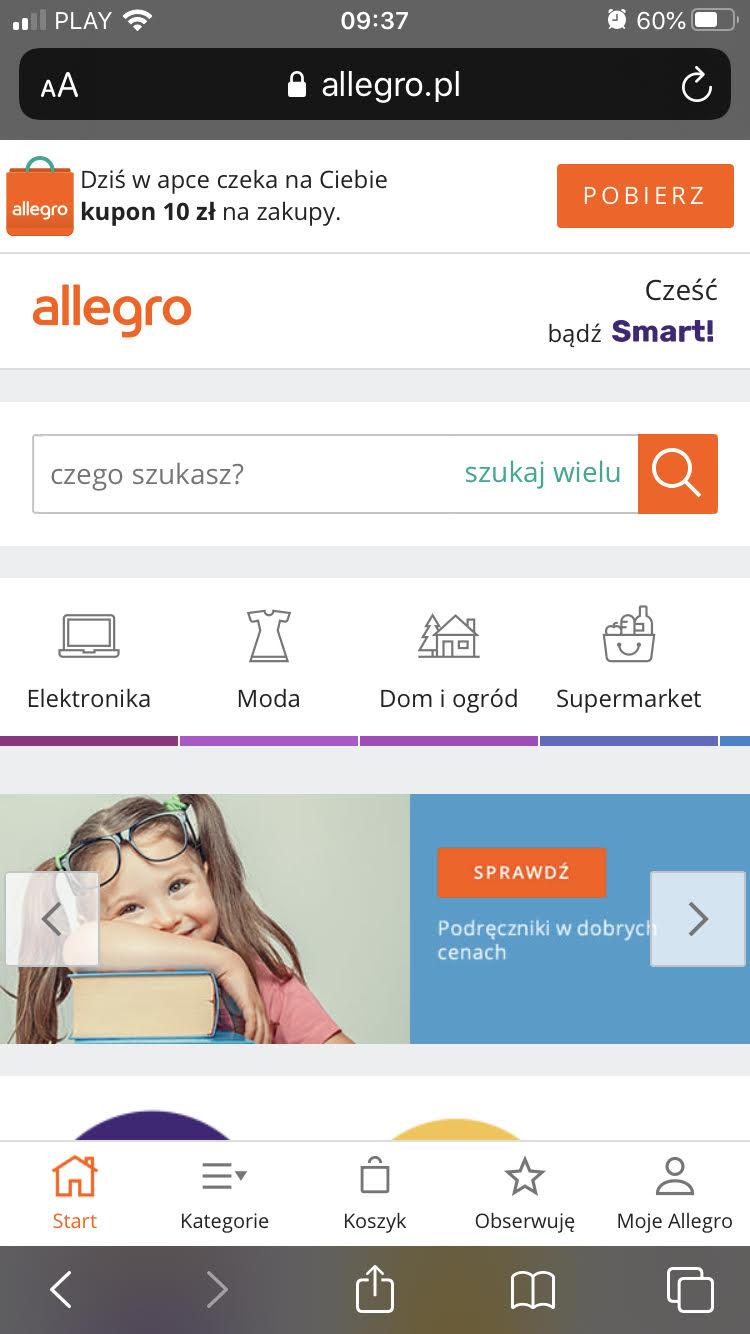 Widok strony Allegro