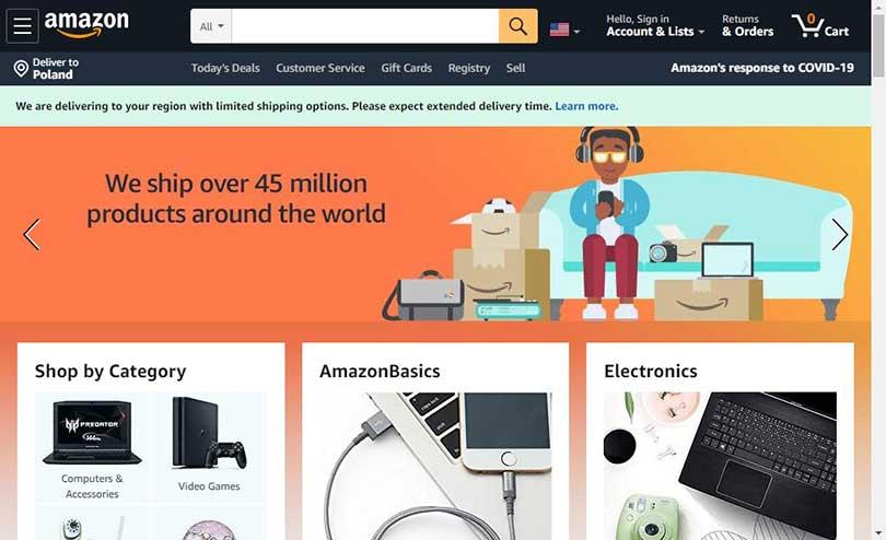 Widok strony Amazon