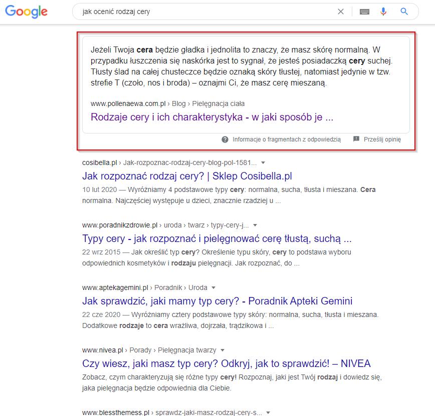 Widok wyników wyszukiwania